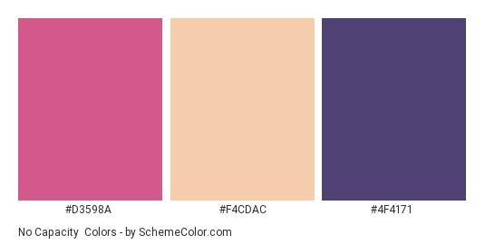 No Capacity - Color scheme palette thumbnail - #D3598A #F4CDAC #4F4171