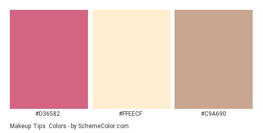 Makeup Tips - Color scheme palette thumbnail - #D36582 #FFEECF #C9A690