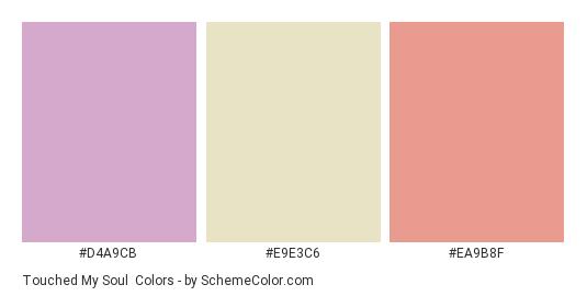 Touched my Soul - Color scheme palette thumbnail - #D4A9CB #E9E3C6 #EA9B8F