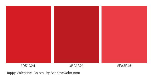 Happy Valentine - Color scheme palette thumbnail - #D51C24 #BC1B21 #EA3E46