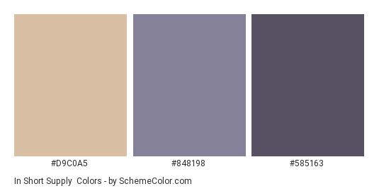 In Short Supply - Color scheme palette thumbnail - #D9C0A5 #848198 #585163