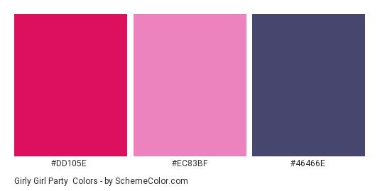 Girly Girl Party - Color scheme palette thumbnail - #DD105E #EC83BF #46466E