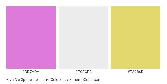 Give Me Space To Think - Color scheme palette thumbnail - #DD7ADA #ECECEC #E2D86D