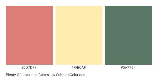 Plenty of Leverage - Color scheme palette thumbnail - #DD7D77 #FFECAF #5A7764
