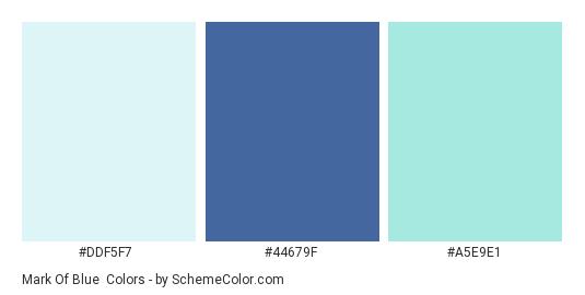 Mark of Blue - Color scheme palette thumbnail - #DDF5F7 #44679F #A5E9E1