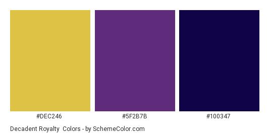 Decadent Royalty - Color scheme palette thumbnail - #DEC246 #5F2B7B #100347