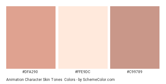 Animation Character Skin Tones - Color scheme palette thumbnail - #DFA290 #FFE9DC #C99789