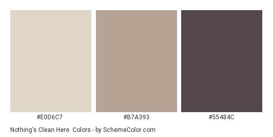 Nothing's Clean Here - Color scheme palette thumbnail - #E0D6C7 #B7A393 #55484C