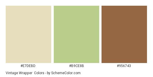 Vintage Wrapper - Color scheme palette thumbnail - #E7DEBD #B9CE8B #956743