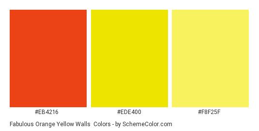 Fabulous Orange Yellow Walls - Color scheme palette thumbnail - #EB4216 #ede400 #f8f25f