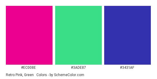 Retro Pink, Green & Blue - Color scheme palette thumbnail - #EC008E #3ADE87 #3431AF