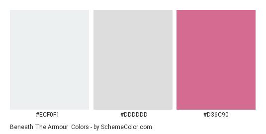 Beneath the Armour - Color scheme palette thumbnail - #ECF0F1 #DDDDDD #D36C90