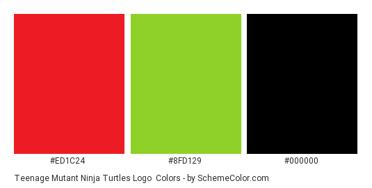 Teenage Mutant Ninja Turtles Logo - Color scheme palette thumbnail - #ED1C24 #8FD129 #000000