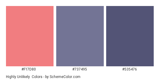 Highly Unlikely - Color scheme palette thumbnail - #F17D80 #737495 #535476