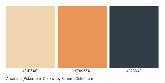 Arcanine (Pokemon) - Color scheme palette thumbnail - #F1D5AF #E8955A #323D48
