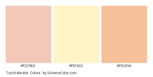 Touch-Me-Not - Color scheme palette thumbnail - #F2C9B8 #FEF4C6 #F5C09A
