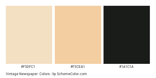 Vintage Newspaper - Color scheme palette thumbnail - #F3DFC1 #F3CEA1 #1A1C1A