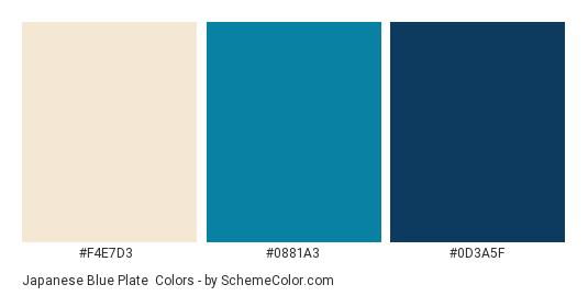 Japanese Blue Plate - Color scheme palette thumbnail - #F4E7D3 #0881A3 #0D3A5F