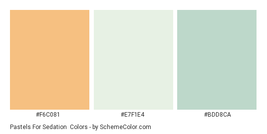 Pastels for Sedation - Color scheme palette thumbnail - #F6C081 #E7F1E4 #BDD8CA