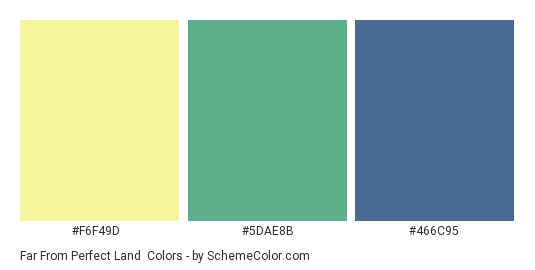 Far from Perfect Land - Color scheme palette thumbnail - #F6F49D #5DAE8B #466C95