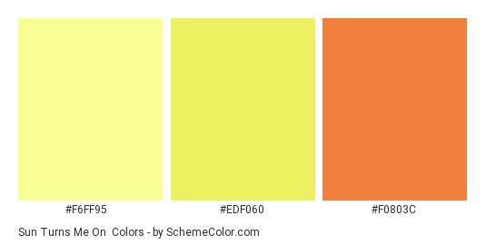 Sun Turns Me On - Color scheme palette thumbnail - #F6FF95 #EDF060 #F0803C