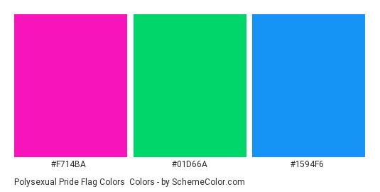 Polysexual Pride Flag Colors - Color scheme palette thumbnail - #F714BA #01D66A #1594F6