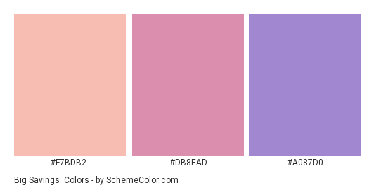 Big Savings - Color scheme palette thumbnail - #F7BDB2 #DB8EAD #A087D0