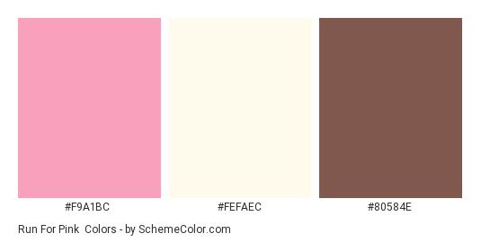 Run for Pink - Color scheme palette thumbnail - #F9A1BC #FEFAEC #80584E