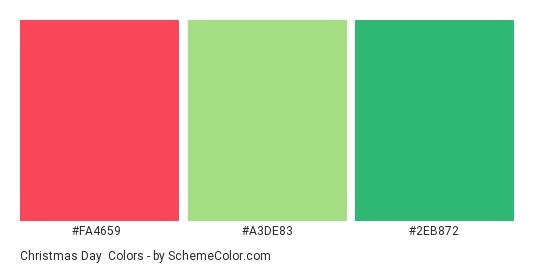 Christmas Day - Color scheme palette thumbnail - #FA4659 #A3DE83 #2EB872