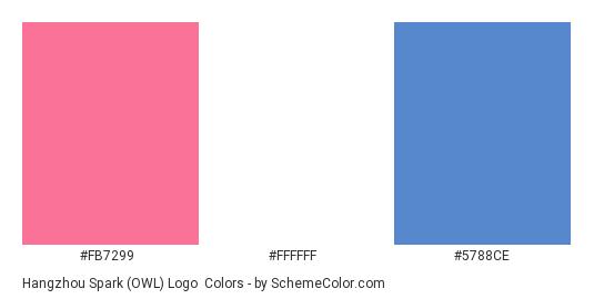 Hangzhou Spark (OWL) Logo - Color scheme palette thumbnail - #FB7299 #FFFFFF #5788CE