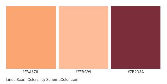 Lined Scarf - Color scheme palette thumbnail - #FBA670 #FEBC99 #7B2D3A