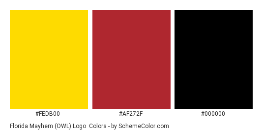 Florida Mayhem (OWL) Logo - Color scheme palette thumbnail - #FEDB00 #AF272F #000000