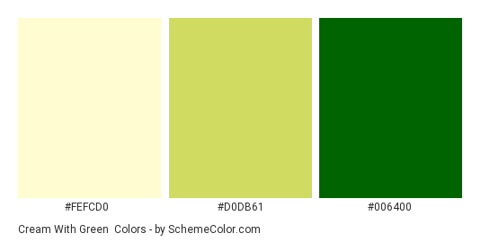Cream With Green Color Scheme Palette Thumbnail Fefcd0 D0db61 006400