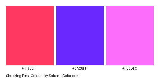 Shocking Pink - Color scheme palette thumbnail - #FF385F #6A28FF #FC6DFC