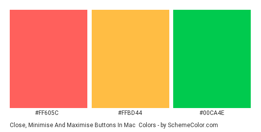 Close, Minimise and Maximise Buttons in Mac - Color scheme palette thumbnail - #FF605C #FFBD44 #00CA4E