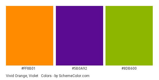 Vivid Orange, Violet & Green - Color scheme palette thumbnail - #FF8B01 #5B0A92 #8DB600