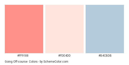 Going Off-course - Color scheme palette thumbnail - #FF9188 #FDE4DD #B4CBDB