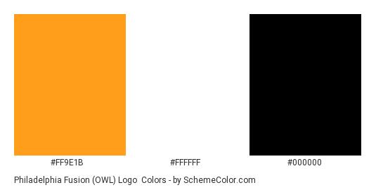 Philadelphia Fusion (OWL) Logo - Color scheme palette thumbnail - #FF9E1B #FFFFFF #000000