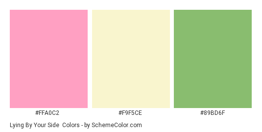 Lying By Your Side - Color scheme palette thumbnail - #FFA0C2 #F9F5CE #89BD6F