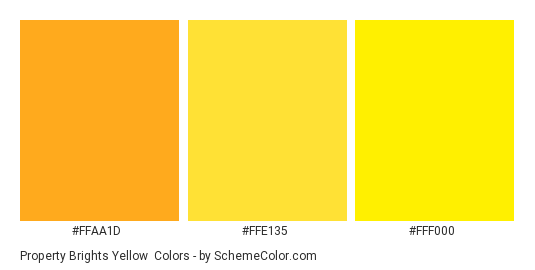 Property Brights Yellow - Color scheme palette thumbnail - #FFAA1D #FFE135 #FFF000