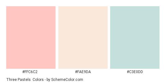 Three Pastels - Color scheme palette thumbnail - #FFC6C2 #FAE9DA #C3E0DD