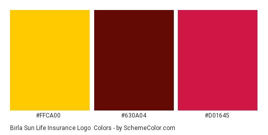 Birla Sun Life Insurance Logo - Color scheme palette thumbnail - #FFCA00 #630A04 #D01645