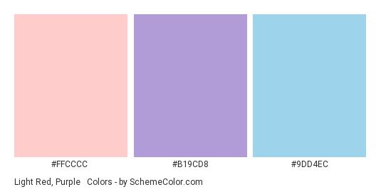 Light Red, Purple & Blue - Color scheme palette thumbnail - #FFCCCC #B19CD8 #9DD4EC