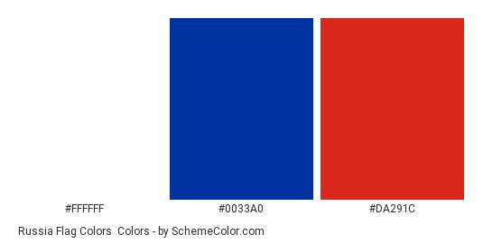 Russia Flag Colors - Color scheme palette thumbnail - #FFFFFF #0033A0 #DA291C