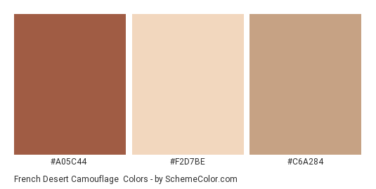 French Desert Camouflage - Color scheme palette thumbnail - #a05c44 #f2d7be #c6a284