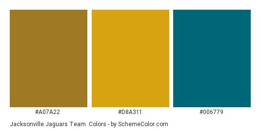 Jacksonville Jaguars Team - Color scheme palette thumbnail - #a07a22 #d8a311 #006779