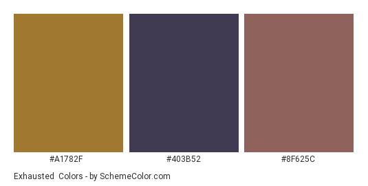 Exhausted - Color scheme palette thumbnail - #a1782f #403b52 #8f625c