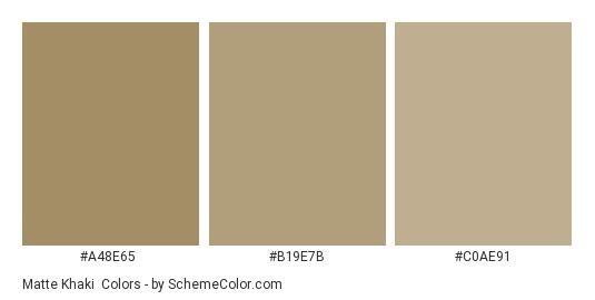 Matte Khaki - Color scheme palette thumbnail - #a48e65 #b19e7b #c0ae91