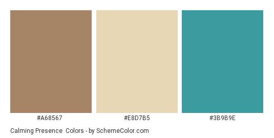 Calming Presence Color Scheme Palette Thumbnail A68567 E8d7b5 3b9b9e