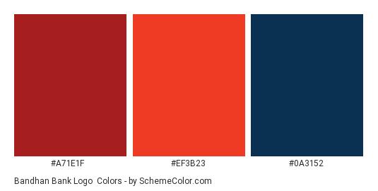 Bandhan Bank Logo - Color scheme palette thumbnail - #a71e1f #ef3b23 #0a3152